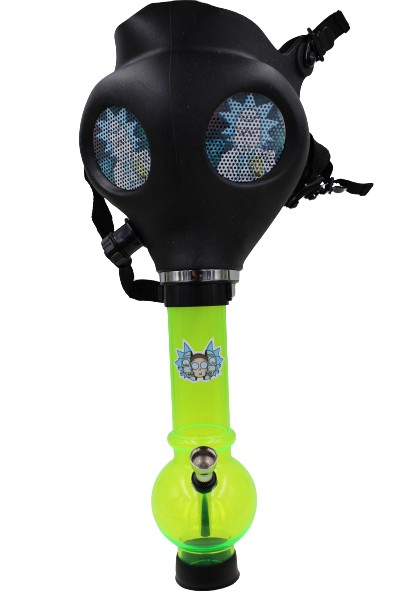 Mixed Colored Rick Morty Black Gas Mask w/ Plastic Water Pipe (Comes in Box)