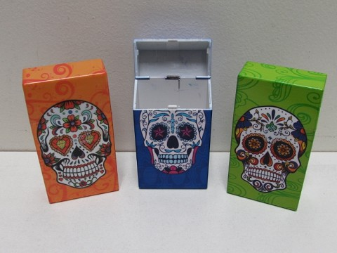 Large Plastic Cig. Case Push To Open Candy Skull ( CC-LPOCSK )(Buy 12pc $2.25 each)
