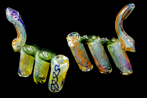 375Gr. Multi Colored Lining 3 Chamber Glass Bubbler