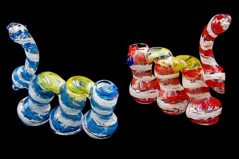 360Gr. Multi Colored Designed 3 Chamber Glass Bubbler
