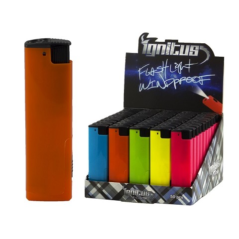 Ignitus Refillable Windproof Torch Lighter w/ LED Flashlight-Neon Colors 50ct Display IGNEL02LED