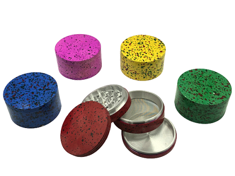 80mm 4 Part Multi Colored Dotted Aluminum Grinder