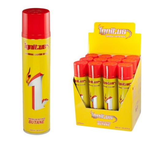 Ignitus Regular Premium Refined Butane 300ml 12ct Display Box